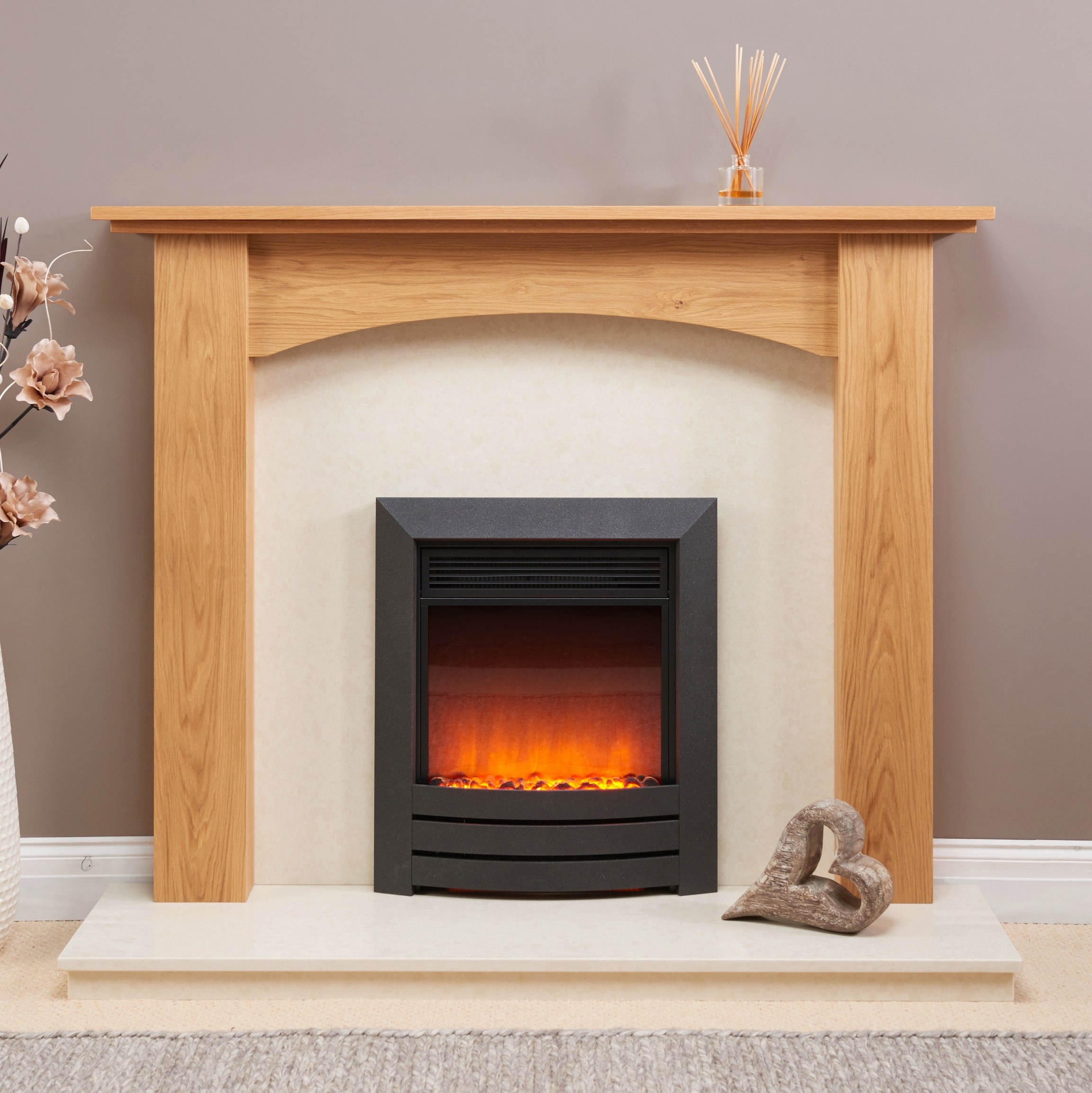 Fairways Arched Hawthorn Solid Oak Fire Surround
