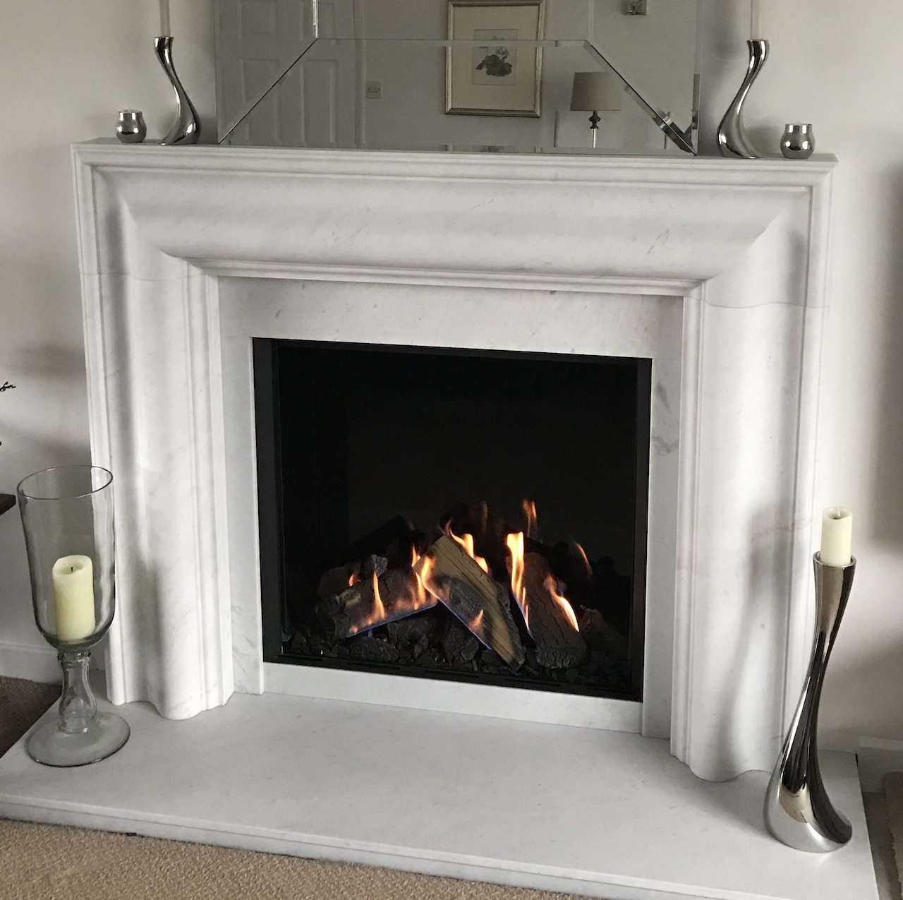 Grafton fireplace in Antique White Marble